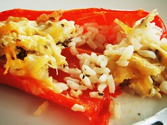 stuffed bell pepper with rice, chicken, and cheese - 35