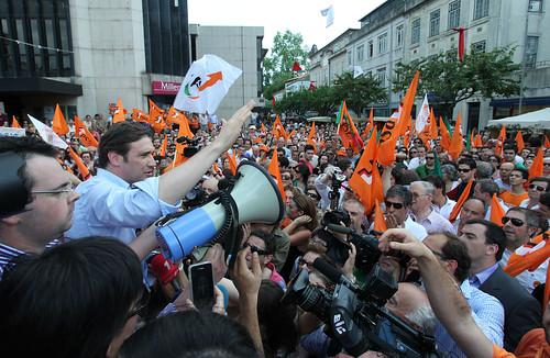 Pedro Passos Coelho arruada no centro de Braga