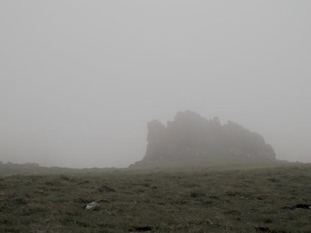 rocher sous le fog
