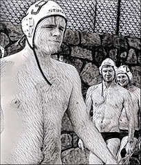 (Cliff Michaels) Tags: nikon photoshop pse9 prizma portrait face swimmers waterpolo bw