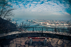 View of Budapest from Gellert hill (Vagelis Pikoulas) Tags: pano panorama panoramic vertical view landscape city cityscape bench sky clouds cloud cloudy river danube hungary europe travel photography november 2016 autumn canon 6d tokina 1628mm