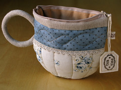 TeaCup pouch 106 (PatchworkPottery) Tags: bag tea handmade sewing crafts country fabric pouch zipper quilted patchwork teacup wristlet