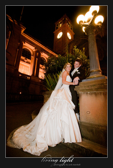 Outside Town Hall and Civic Park. Newcastle wedding photography.