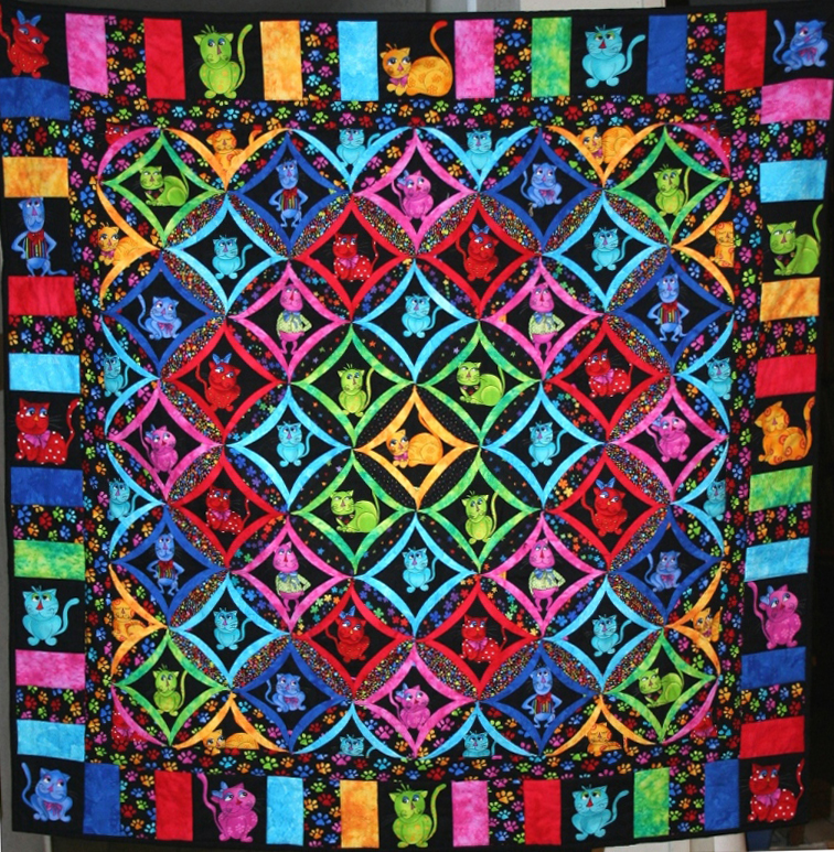 Cool Cat Cathedral Window Quilt | Snips and Bits from Shelley's Studio : quilt cathedral window - Adamdwight.com