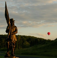 Ballooning by Crawford (fauxto_digit) Tags: red sky monument statue flying balloon floating pa gettysburg gettysburgpa project365 civilwarsite anawesomeshot gnmp cwpt09bf