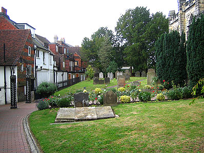 St Swithuns churchyard - memorial stones are in the foreground