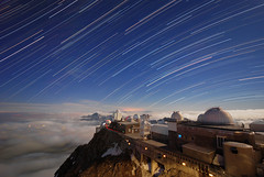Stars and clouds (be*curious) Tags: mountain france night clouds star pic trail observatory telescope dome physics moonlight astronomy midi pyrenees astrophysics startrail picdumidi bigorre pascalpetit