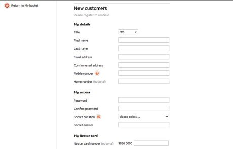 Sainsbury's registration