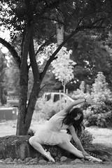 (Megan Caros) Tags: blackandwhite tree yard 50mm washington ballerina chelsea stretch pointe carnation bestfriend tutu sooc