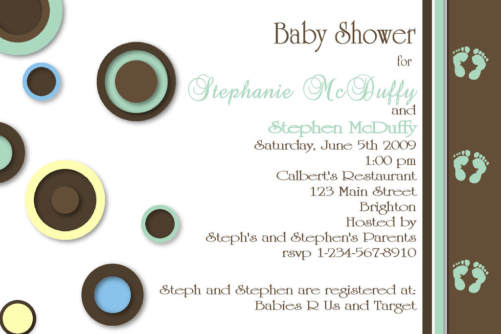 #C65 green blue yellow pastel baby shower invitation custom personalized