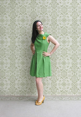 Brazilian Hair Straightening (Elsita (Elsa Mora)) Tags: portrait inspiration selfportrait flower color green art smile fashion yellow photoshop self vintage hair happy outfit nice mod shoes artist pin pumps dress personal background brooch inspired remix seed style hidden brazilian blogged wardrobe straight cloth elsa straightening mora selfexpression elsita