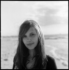 (kalliope.) Tags: sea portrait bw white black 6x6 film beach girl analog square warnemnde kodak trix balticsea hasselblad 500c medium format markgrafenheide
