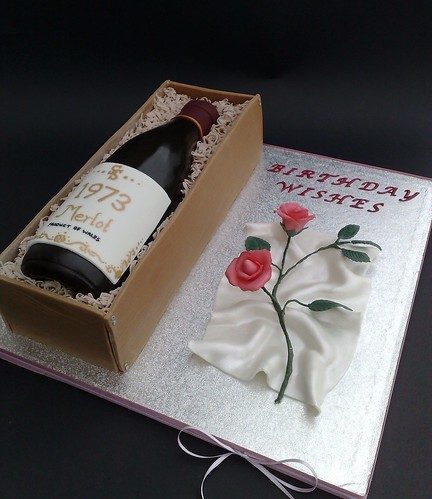 Wine Bottle Cake With Rose For Sharon