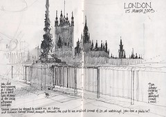London Houses of Parliament (skyeshell) Tags: city blackandwhite london art silhouette buildings sketch drawing housesofparliament line tone embankment locationdrawing winnr pleinairdrawing urbansketches sketchbookjournal sketchbookpages visionqualitygroup drawingonthespot patsouthernpearce