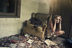 (yyellowbird) Tags: ohio house selfportrait abandoned girl lights chair cari