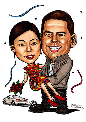 Wedding couple caricatures with Audi A6 2009
