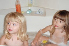 Catie & Elizabeth in the tub