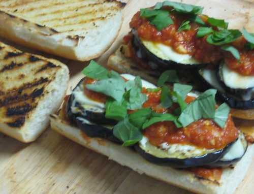 Grilled Eggplant Parmigiana Heros