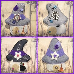 Cabaas de brujas (Noia Land) Tags: house halloween star spider broche handmade witch ooak brooch craft felt boo araa casas estrella cabaas bruja escoba caldero fieltro caudron noialand