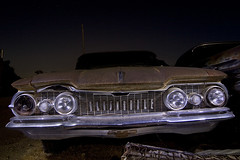 The Linear Look (Lost America) Tags: lightpainting abandoned night fullmoon junkyard 1959 oldsmobile nocturnes dynamic88 thebigm