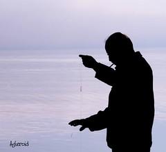 Fisherman's silhouette in the morning (Aster-oid) Tags: men fishermen lakes silhouettes greece ioannina epirus fishinglines pamvotislake ff79
