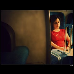 Kissed By The Light (Osvaldo_Zoom) Tags: railroad travel light red italy woman girl train canon project journey commuter kissed calabria trenitalia g7