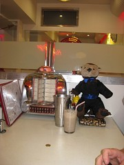 Stephen T. Otter enjoying a malted milkshake at Eddie Rockets 50's Diner in Dublin