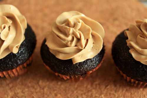 Chocolate cupcakes with coffee buttercream frosting