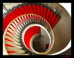 red curl (sediama (break)) Tags: red rot stairs germany 1954 hannover treppe explore staircase curl locke treppenhaus sediama unusualviewsperspectives efbrockmann ©bysediamaallrightsreserved