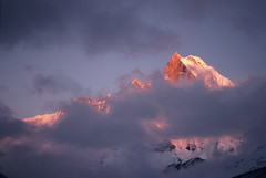 Pink sunset on Mount Everest