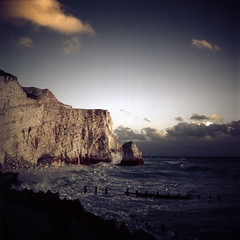 Seven Sisters, Seaford in color infrared film (Kaeurialias) Tags: uk england 120 tlr film ir kodak sevensisters colorinfrared seaford eir yashicamat124g aerochrome