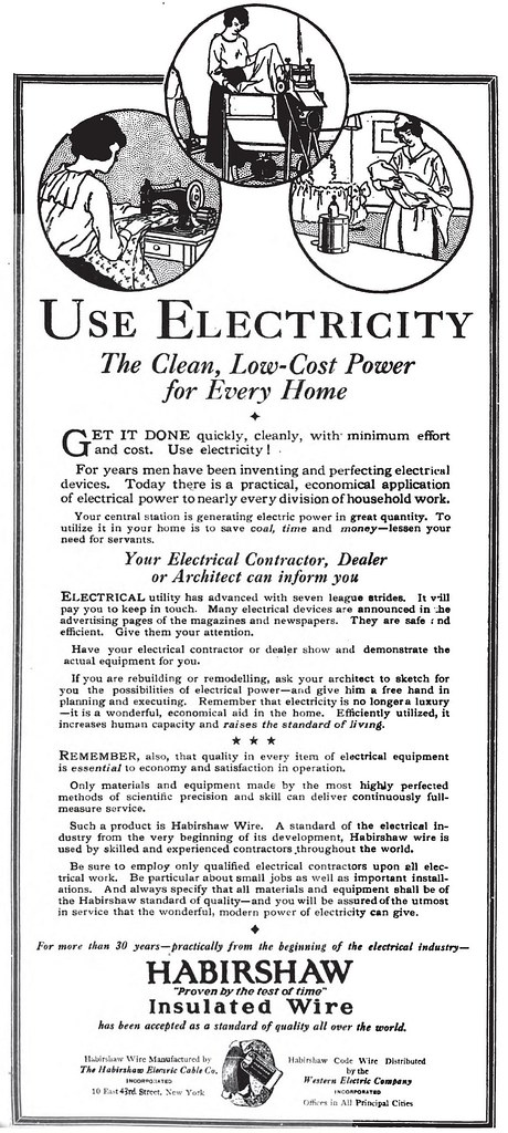 USE ELECTRICITY The Clean, Low-Cost Power for Every Home - Habirshaw Insulated Wire ad