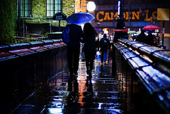 The bright side (Neal Bingham) Tags: street bridge colour london rain night umbrella reflections 50mm nikon couple lock camden streetphotography neal bingham londonist d90 nealbingham nealbinghamcom
