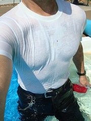 31 LS Close up wet clinging T & lthr jeans (Leviswimmerwet) Tags: wet swimming wetlook swimmingfullyclothed wetjeans wetleather wetboots guysinwetjeans wetladz docmartinboots wetleatherjeans