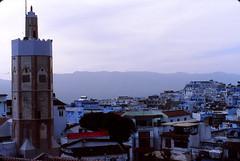 Minaret Over Chef (QXZ) Tags: africa travel film morocco maghreb chefchaouen xaouen chouen nikkor28mm nikonnikkormatelw fujichromeprovia400x
