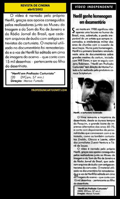 """""""Henfil ganha homenagem em documentário"""" - Revista de Cinema - abril/2002"""