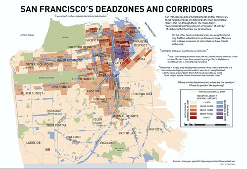 SF's dead zones & commercial corridors (by: Yo-Shang Cheng, Visualizing Mental Maps, UC-Berkeley)