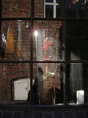 (A. L. Utne) Tags: orchid window caf trondheim solsiden redbrick plasticflower selfreflected june2009 liseutne liseutne