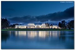 Old Parliament House in Canberra (Sam Ili) Tags: old blue light sunset sky sun house color water silhouette museum architecture clouds canon democracy australian blues australia parliament canberra monday dri hdr oldparliamenthouse explored 450d canberrasunset redbubble museumofaustraliandemocracy