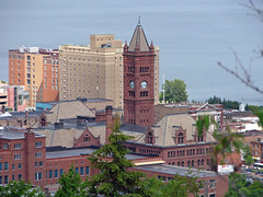 Duluth Central High School (MSPdude) Tags: above school lake tower clock minnesota canon hotel high central superior powershot duluth skylineparkway s5is