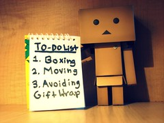 Danbo's To-do List (willycoolpics.) Tags: canon toy robot action box lol cardboard list figure todo picnik notepad danbo s3is revoltech danboard avoidgiftwrapatallcost