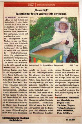 Brigitte Stolle: Bienenstich (Seckenheim-Rheinau-Nachrichten 17. Juli 2009) von Ihnen.