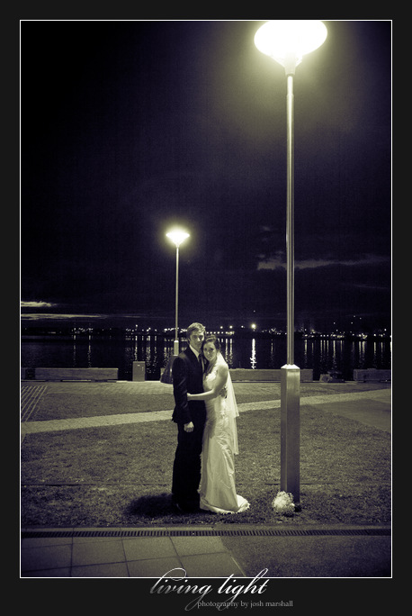 Bride and groom under lamp-post. Honeysuckle, Newcastle.