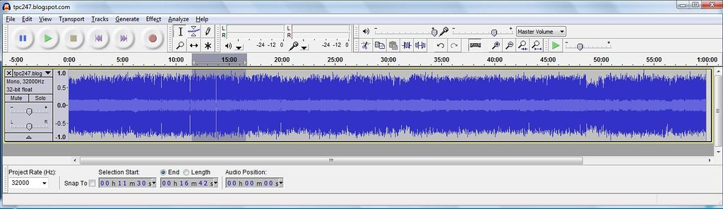 Audacity_selected segment of audio file