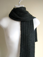 ZAK- Men's/Unisex Cashmere Blend Ribbed Scarf Charcoal