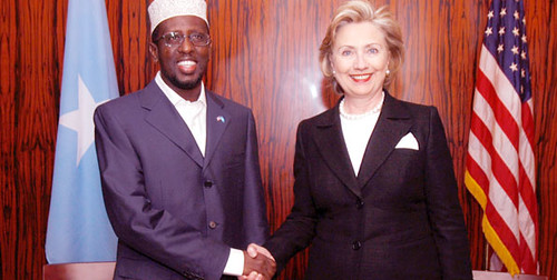 Somalia Transitional Federal Government President Sheikh Sharif Ahmed meets with US Secretary of State Hillary Clinton at the American embassy in Nairobi, Kenya on August 7, 2009. Clinton visited seven African countries in a eleven day tour. by Pan-African News Wire File Photos