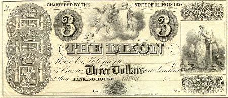 1837 Illinois Dixon Hotel Three Dollars