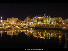 The Empress at Night (David Gn Photography) Tags: reflection night britishcolumbia canonefs1855mm hdr victoriabc innerharbour photomatix theempresshotel canoneosrebelt1i