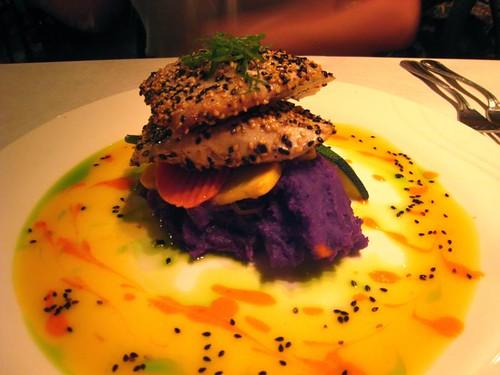 Mahimahi with lilikoi sauce and purple potatoes. YUM.