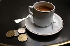 espresso (Karol Franks) Tags: paris france coffee table google cafe coins louvre espresso bing euros copyrighted okarol karolfranks aingworth pleasedonotuseimageswithoutmypermission 2014karolfranks karolfranksgmailcom thisworkislicensedunderacreativecommonsattributionnoncommercialnoderivatives40internationallicense